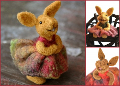 teresa, perleberg, laine , feutree, felted, yarn, animals, animal, cute, rabbit, lapin,