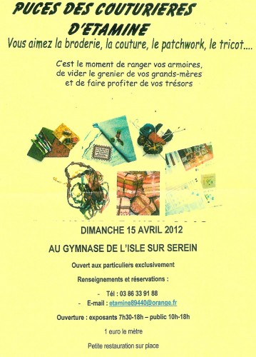 puces, couturieres, couture, patch, tricot, broderie, vide, grenier, tiroir, l'isle, serei, gymnase, dimanche, 15, avril, bourgogne, yonne,