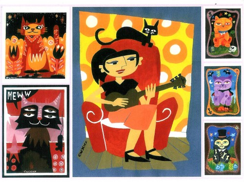 chat, cat, postcard, carte, postale, peinture, painting, cecily, comic book, bande, dessinée