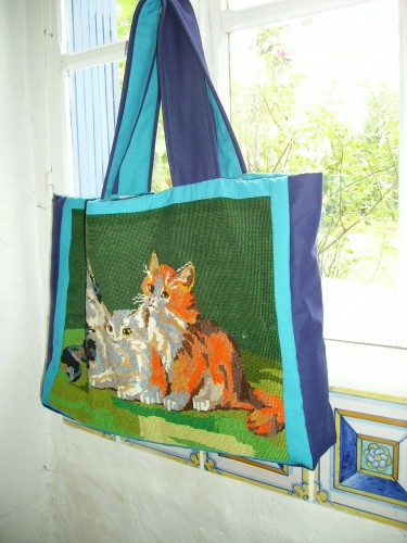 canevas, recup, emmaus, chats, cat, handstitched, needle point, sac,