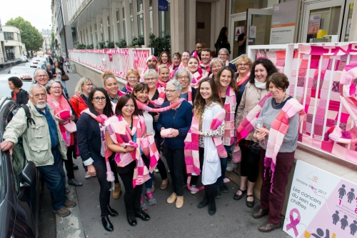 octobre rose,cancer,sein,vaincre,solidarité,prevention,defi,tricot,carre,rose,curie,sophie thalmann,bergere de france,